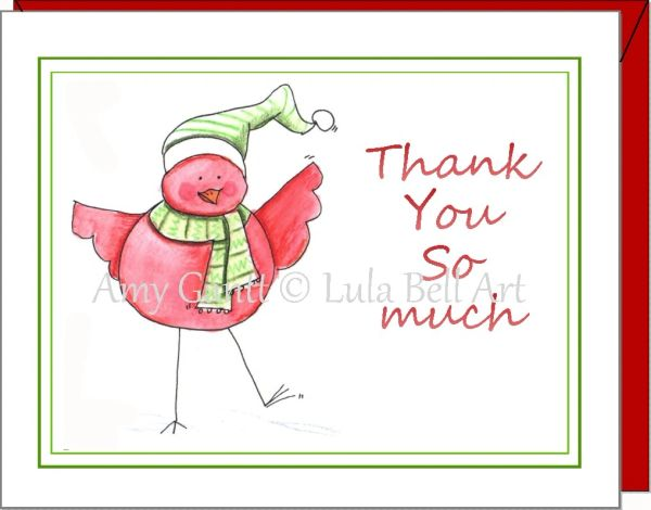 Thank You - Red Bird Thank You Boxed Cards