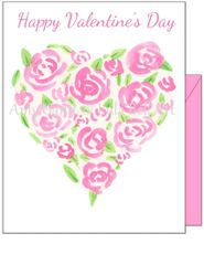 Valentine - Roses Heart Greeting Card