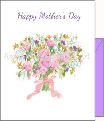 Mother's Day - Ribbon Tied Bouquet Greeting Card