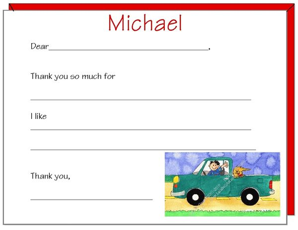 Fill in the Blank Green Truck Thank You Cards