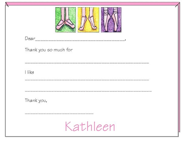 Fill in the Blank Ballet Shoe Thank You Cards
