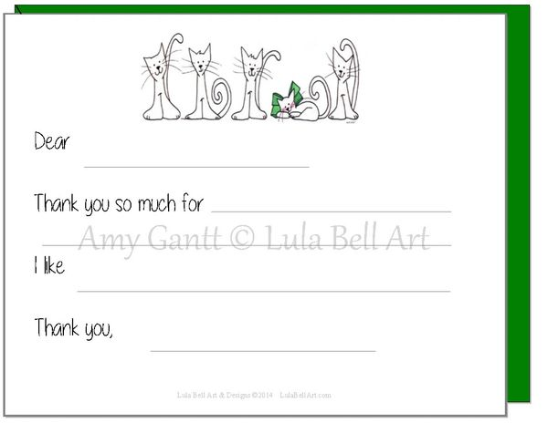 Fill in the Blank Cats Thank You Cards