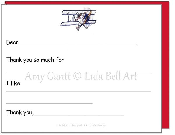 Fill in the Blank Biplane Thank You Cards