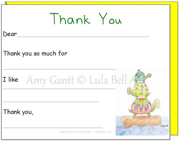 Fill in the Blank Turtles Thank You Cards