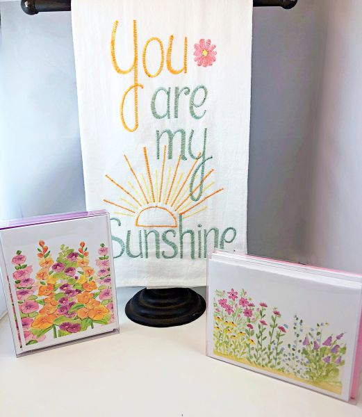 Spring Note Cards & You are my Sunshine Towel