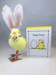 Happy Easter fuzzy Chick with a FREE Easter Card