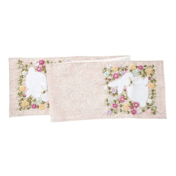 Meadow Bunny Ribbon Art Table Runner Easter