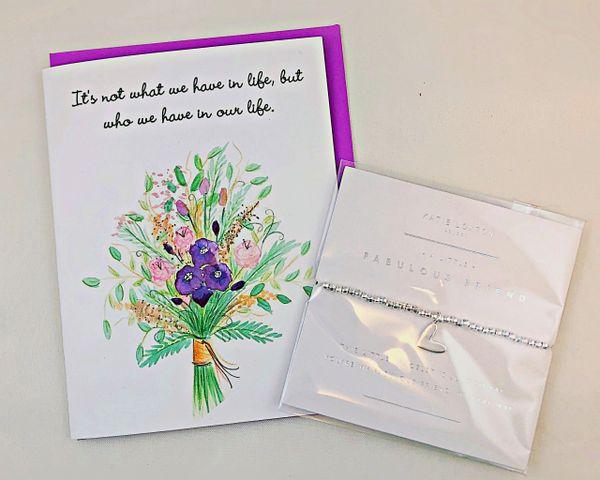 Friendship - Linda's Bouquet Greeting Card with Fabulous Friend Bracelet