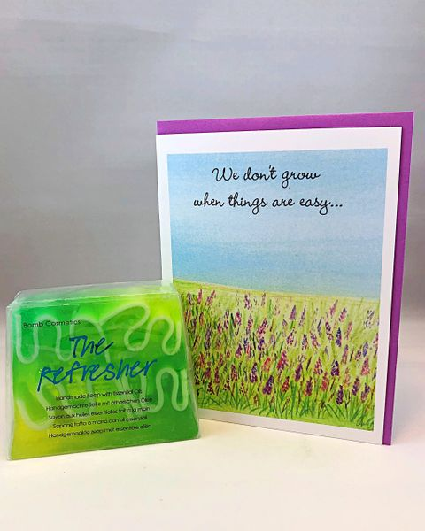 Encouragement - Lavender Grows Greeting Card with Soap