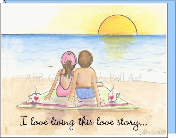 Anniversary - Love Story Sunrise Greeting Card