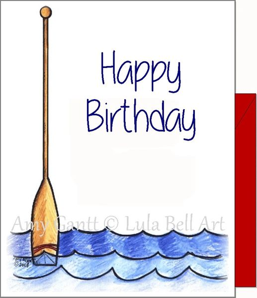 Birthday - Oar Rowing Greeting Card