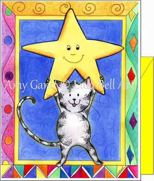 Encouragement - Cat Star Greeting Card