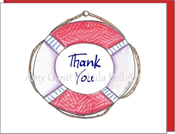 Thank You - Life Preserver Greeting Card