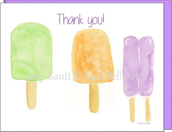 Thank You - Popsicles Orange/Purple Greeting Card