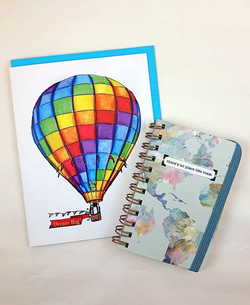 Encourgement - Rainbow Hot Air Balloon Greeting Card and There's no place like roam notepad