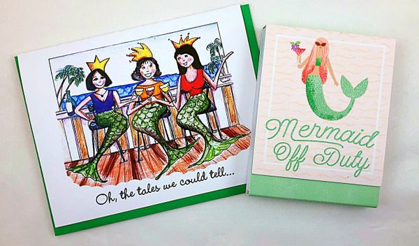 Birthday - Mermaids Greeting Card with Mermaid Off Duty notepad