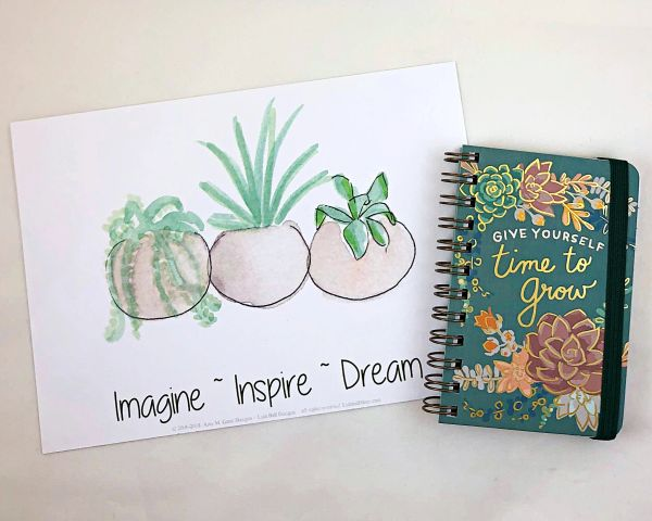 5 x 7 Succulent Trio Print with Give Yourself Time To Grow Mini Spiral Notebook