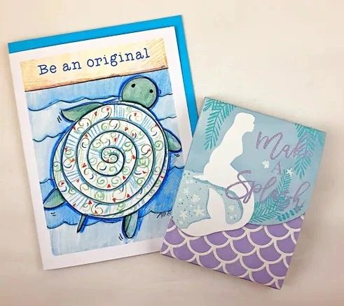Blank Inside - Blue Turtle Greeting Card with Make a Splash mini Notepad