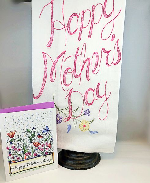 A Mother's Day - Happy Mother's Day Greeting Card with Happy Mother's Day Towel