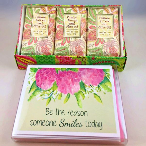 Be the reason someone Smile today Boxed Note cards with Soap Trio