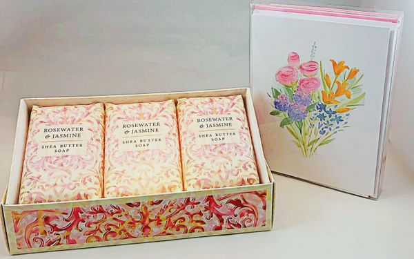 Spring Bouquet Boxed Note Cards with Rosewater & Jasmine Bar Soap Trio