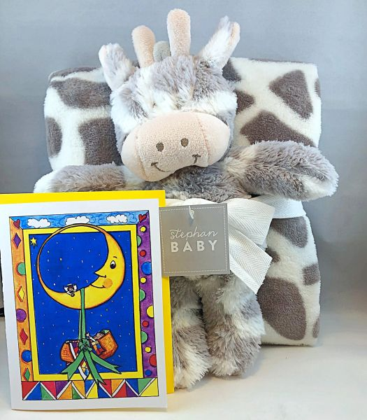 Baby - A Blessing From Above Greeting Card with Brown Giraffe Stuffed Animal with Blanket
