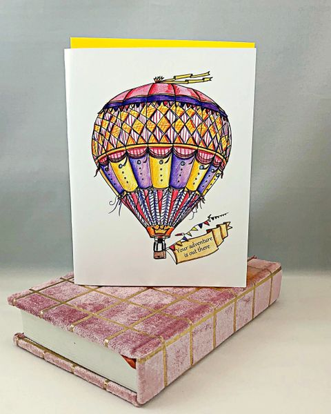 "Congratulations - ""Your adventure is out there"" Greeting Card with Pink Velvet Journal"