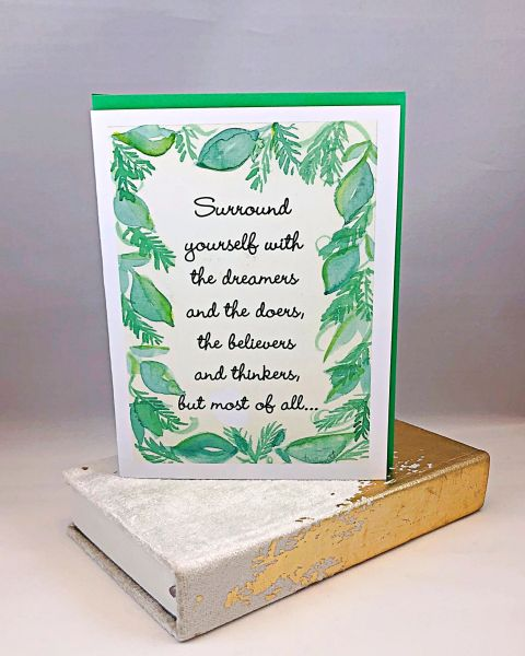 Encouragement - Green Leaf Boarder Greeting Card with Gray and Gold Velvet Journal