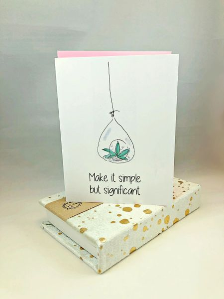 Blank- Make it simple but significant Greeting card with Mint Paint Splattered Velvet Journal