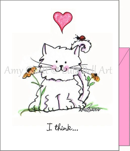 Valentine - Kitty Love Bug Greeting Card