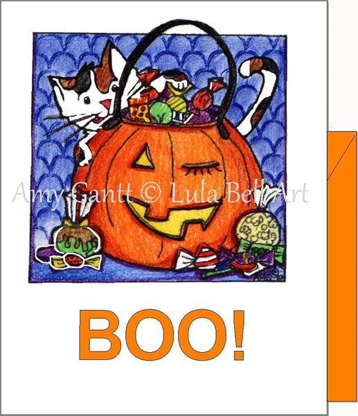 Halloween - Boo Cat Greeting Card