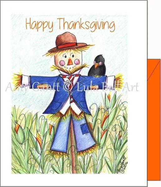 Thanksgiving - Scarecrow Boy Greeting Card
