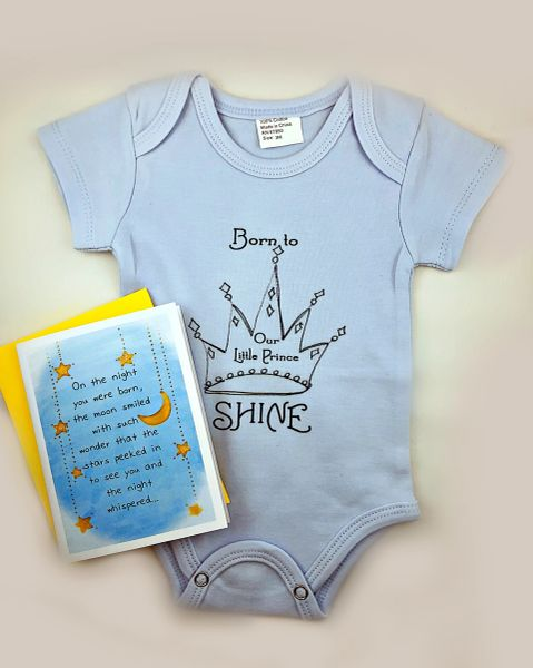 Baby - On the night you were Born Greeting Card with Born to Shine Onesie