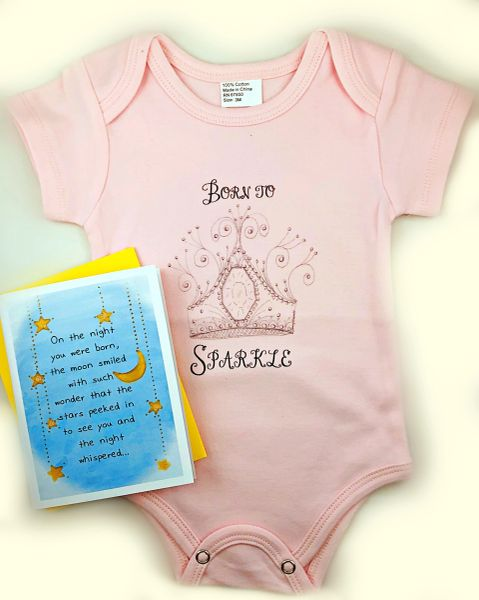 Baby - On the night you were Born Greeting Card with Born to Sparkle Onesie