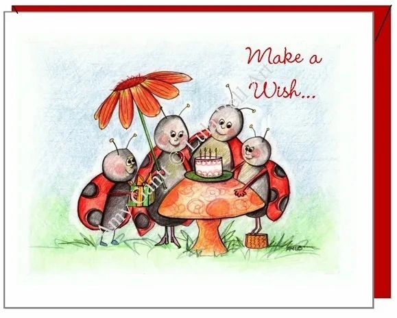 Child Birthday - Ladybug Party Greeting Card