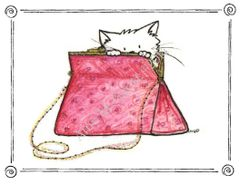 Cat in Pink Purse Boxed Note Cards