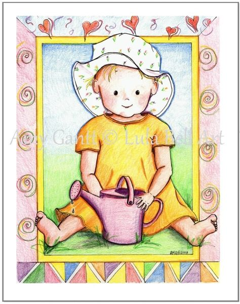 Baby - Baby in the Garden Greeting Card