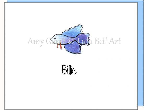 A Personalize - Blue Fish Boxed Note Cards