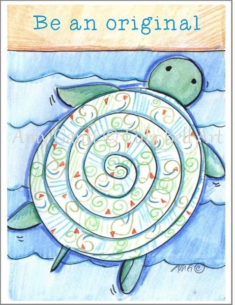 "Blue Turtle ""Be an Original"" Turtle Boxed Note Cards"