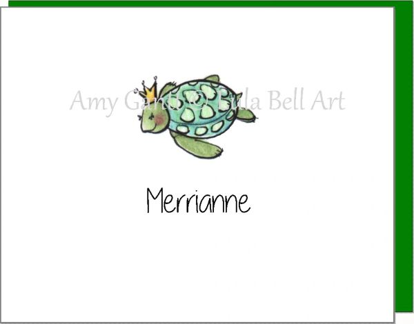A Personalize - Turtle Princess Boxed Note Cards