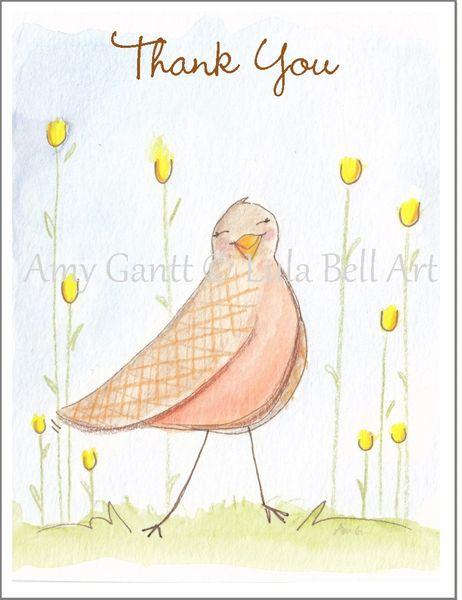 Thank You - Brown Bird Note Cards