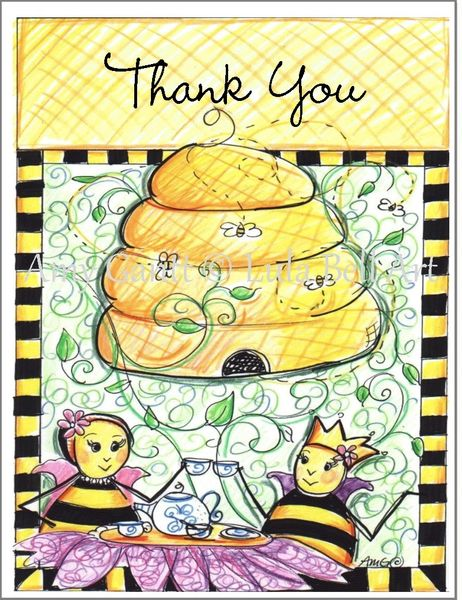 Thank You - Queen Bee Having Tea Thank You Boxed Note Cards
