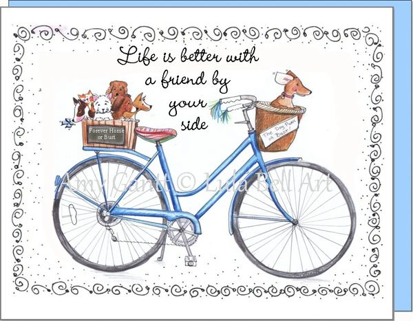 Bike - Blue with Cute Dogs Boxed Note Cards