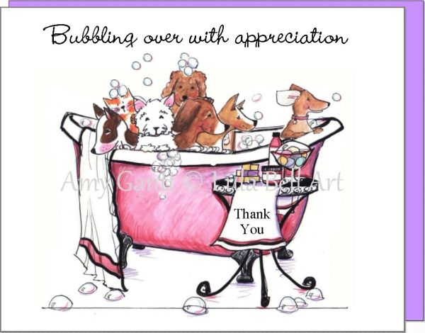 Thank You Bubble Bath Buddies Note Cards