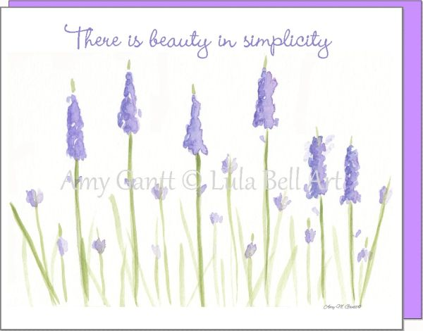 There is Beauty in Simplicity Lavender Note Cards