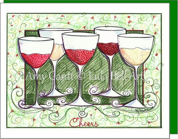 Wine - Cheers to friends Wine Boxed Note Cards