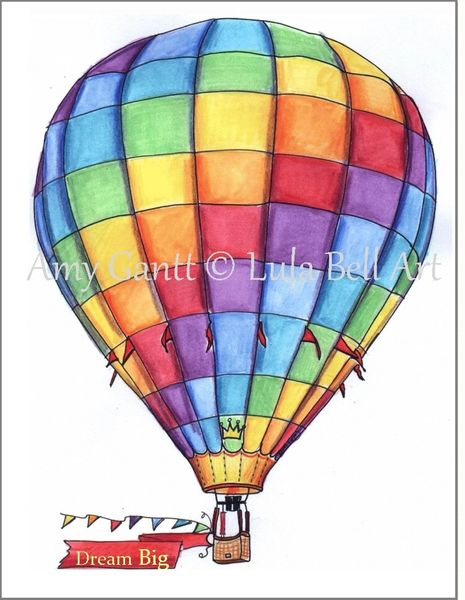 Hot Air Balloon Rainbow Boxed Note Cards