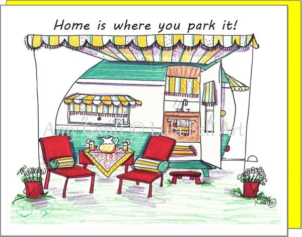 Vintage Camper Green ~ Home is where you park it. Boxed Note Cards