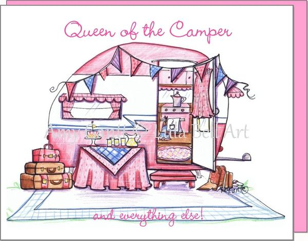 Vintage Camper Pink ~ Queen on the Camper Boxed Note Cards