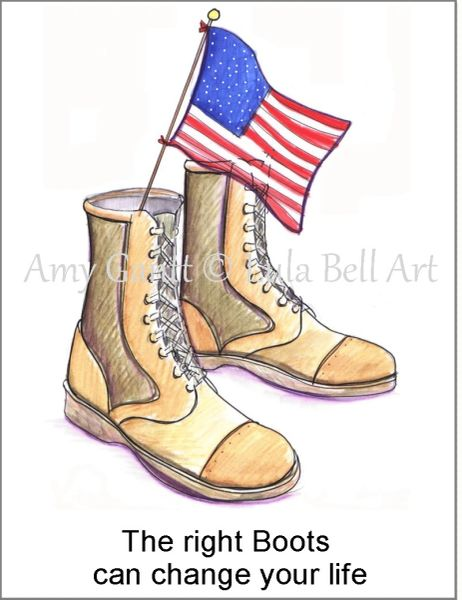 Thank You - Military Boots Boxed Note Cards